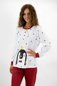 Pigiama pinguino nero rosso