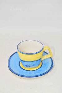 Set Cups Hand Painted Blue And Yellow 10 + 10 Plates