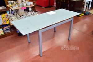 Tavolo In Vetro Allungabile Con Base Color Silver
