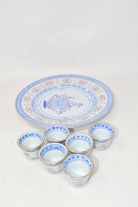 Plate Chinese With 6 Shot Glasses Light Blue White