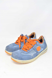 Shoes Accident Prevention Blue With Laces Orange N°.41 Brand Dike