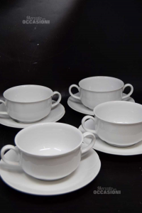 4 Cups From Consommé With 4 Plates Winterling