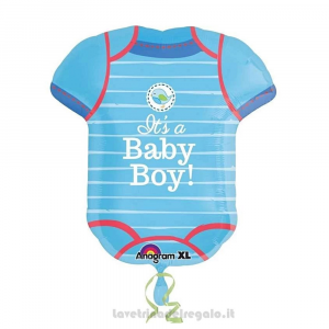 Palloncino Foil Body naonato celeste It's a Boy Baby Shower 55x60 cm - Party allestimento