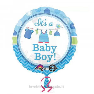 Palloncino Foil Baby Shower celeste It's a Baby Boy Nascita bimbo 45 cm - Party allestimento