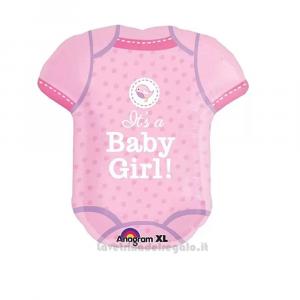 Palloncino Foil Body naonato rosa It's a Girl Baby Shower 55x60 cm - Party allestimento