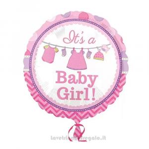 Palloncino Foil Baby Shower rosa It's a Baby Girl Nascita bimba 45 cm - Party allestimento