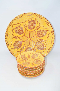 Bowl + 6 Plates In Terracotta Style Moroccan Color Yellow