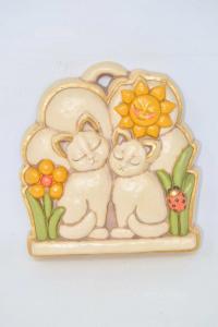 Oggetto Da Appendere In Ceramica Thun 21 X 24 Cm Coppia Di Gatti