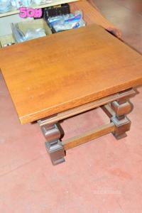 Tavolino In Legno Quadrato 60x60x44 Cm Con Cassetto