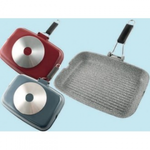 Linea Metropolis Grill Piastra Con Manico 24x34 cm Disponibile in Due Colorazioni Rosso Grigio Antiaderente Cucina