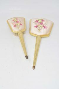 Spazzola + Specchio Vintage Ricamo Fiori Rosa