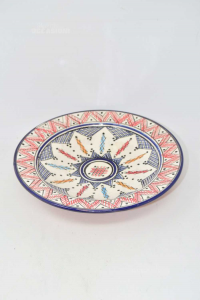 Piattio In Terracotta Hand Painted Made In Morocco Diameter 26 Cm Color Blue Red