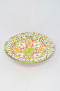 Piattio In Terracotta Hand Painted Made In Morocco Diameter 26 Cm Color Green C