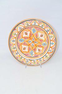 Piattio In Terracotta Hand Painted Made In Morocco Diameter 26 Cm Color Orange