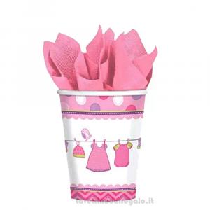 8 pz - Bicchieri Baby Shower rosa Nascita bimba - Party tavola