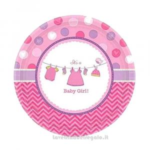 8 pz - Piatti Baby Shower rosa Nascita bimba 17.5 cm - Party tavola