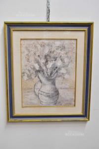 Quadro Dipinto Raffigurante Vaso Con Fiori Colori Chiari Dimensione 71x61 Cm