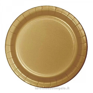 8 pz - Piatti Oro Glittering Gold per il 50° Anniversario Nozze 23 cm - Party tavola