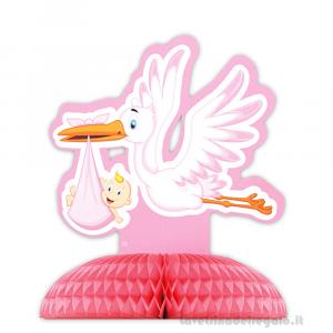 Centrotavola con Cicogna rosa con bebè Nascita bimba 28x32 cm - Party tavola