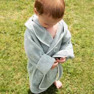 Accappatoio per bambini Personalizzabile - Salvia/Bianco naturale