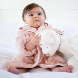 Accappatoio per bambini Personalizzabile - Cipria/Bianco naturale