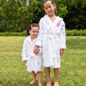 Accappatoio per bambini Personalizzabile - Bianco/Bianco