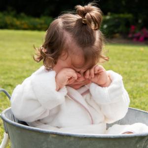 Accappatoio per bambini Personalizzabile - Bianco naturale/Cipria