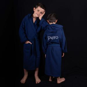 Accappatoio per bambini Spugna Leggera Personalizzabile - Blu Navy