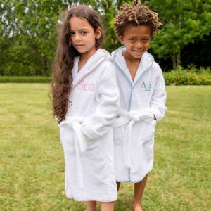Accappatoio per bambini Personalizzabile - Bianco/Azzurro