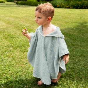 Poncho per bambini  Personalizzabile - Salvia/Bianco naturale