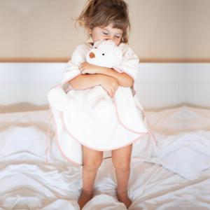 Poncho per bambini Personalizzabile -Bianco/Rosa