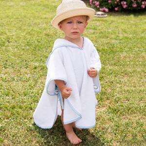 Poncho per bambini Personalizzabile - Bianco/Azzurro