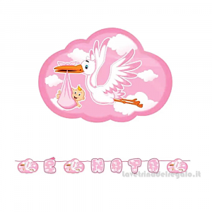Ghirlanda Nuvola rosa con Cicogna Nascita bimba 6mt x 25cm - Party allestimento