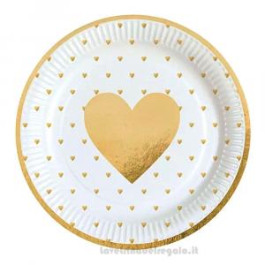 8 pz - Piatti bianchi con Cuore e bordo Oro Matrimonio 23 cm - Party tavola