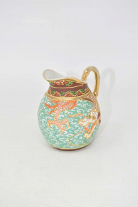 Mini Carafe Japanese With Dragon Background Green Height 9 Cm