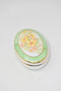 Porta Gioie Limoges Fiori Sfondo Verde In Ceramica