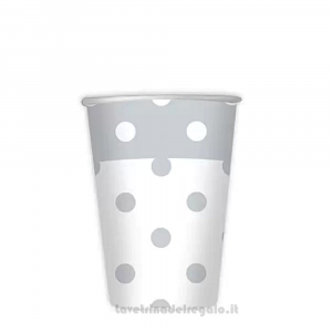8 pz - Bicchieri Argento a Pois 25° Anniversario Nozze - Party tavola