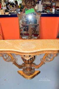 Consolle Legno E Marmo + Specchio Antichi