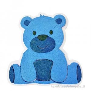 Decorazione Orsetto glitterato Blu Nascita bimbo 40x5x40 cm - Party allestimento