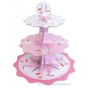 Alzatina Cicogna rosa Nascita bimba 35 cm - Party allestimento