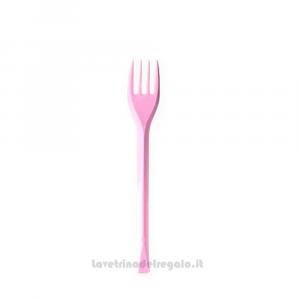 20 pz - Forchettine rosa in plastica - Party tavola