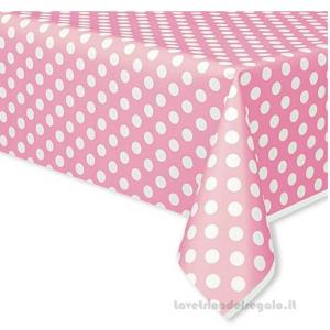 Tovaglia rosa a Pois Compleanno bimba in plastica 137x274 cm - Party tavola