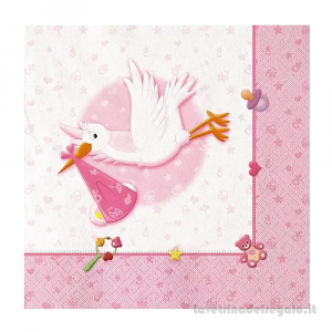 20 pz - Tovaglioli Benvenuta Cicogna rosa Nascita bimba 33x33 cm - Party tavola