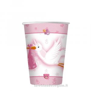 10 pz - Bicchieri Benvenuta Cicogna rosa Nascita bimba - Party tavola