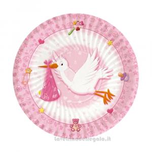 10 pz - Piatti Benvenuta Cicogna rosa Nascita bimba 18 cm - Party tavola