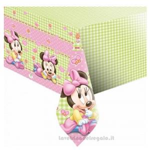 Tovaglia rosa con Minnie Baby Compleanno bimba 120x180 cm - Party tavola