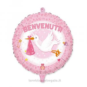 Palloncino Foil Benvenuta Cicogna rosa Nascita bimba 45 cm - Party allestimento