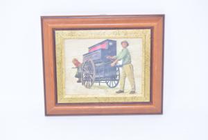 Quadro Stampa Antichi Mestieri Carro Musicale 24x20 Cm