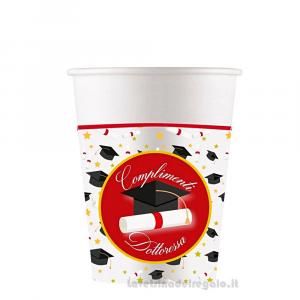 8 pz - Bicchieri con tocco Nero e pergamena Complimenti Dottoressa Laurea - Party tavola