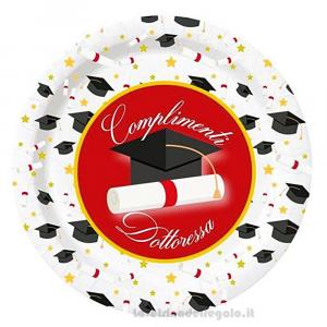 8 pz - Piatti con Tocco nero Complimenti Dottoressa Laurea 23 cm - Party tavola